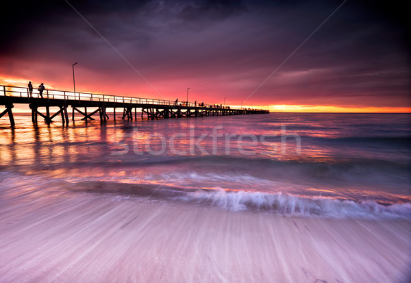 Nyár naplemente gyönyörű tengerpart Dél-Ausztrália víz Stock fotó © kwest
