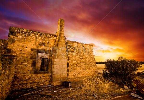 Zonsondergang ruines zon oude huis gebouw Stockfoto © kwest