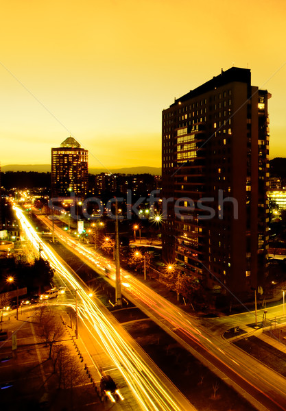 サンティアゴ 太陽 市 チリ 日没 道路 ストックフォト © kwest