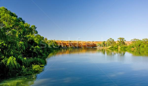 Sziklák folyó Dél-Ausztrália égbolt fa szépség Stock fotó © kwest