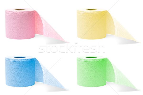 Tekercsek vécépapír négy színes izolált fehér Stock fotó © kyolshin