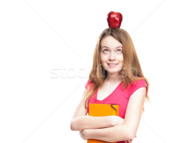 Foto stock: Estudiante · nina · manzana · cabeza · hermosa · feliz