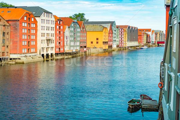 Trondheim old city view. Norway, Scandinavia, Europe Stock photo © kyolshin