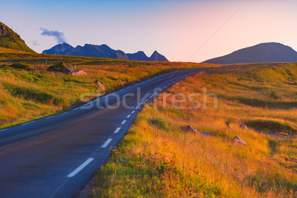 Empty road in Norway, Europe. Sunset travel Stock photo © kyolshin
