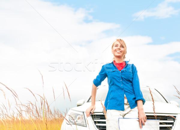 туристических женщину автомобилей лет области молодые Сток-фото © kyolshin