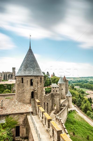 Festői kilátás kastély Franciaország ősi szürke Stock fotó © kyolshin