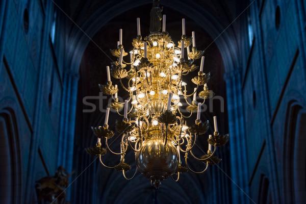 Nagyszerű lámpa gyertyák templom Svédország Európa Stock fotó © kyolshin