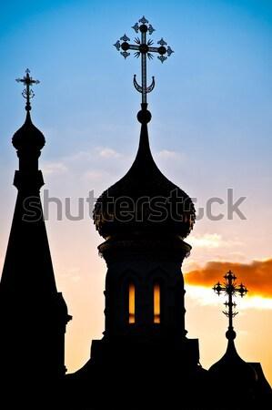 silhouette of russian church dome Stock photo © kyolshin