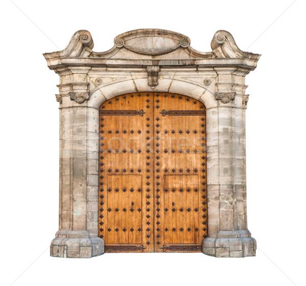 Deuropening geïsoleerd witte houten verdubbelen deuren Stockfoto © kyolshin