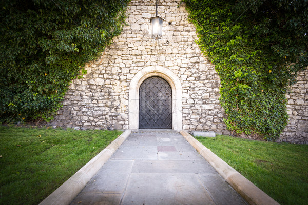 Klein deur stenen muur oude kasteel steen Stockfoto © kyolshin