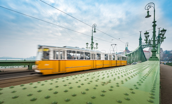 Tram on Liberty bridge in Budapest, Hungary. Stock photo © kyolshin