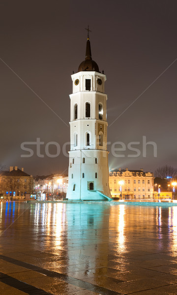 Vilnius cathedral bell tower at rainy night. Lithuania, Europe. Stock photo © kyolshin