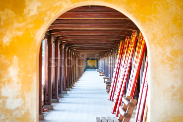 Arched hall of Hue citadel, Vietnam, Asia. Stock photo © kyolshin