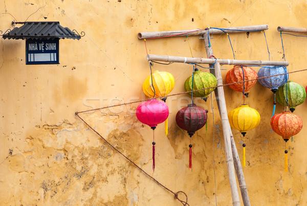 Verschillend lantaarns muur Vietnam asia kleuren Stockfoto © kyolshin