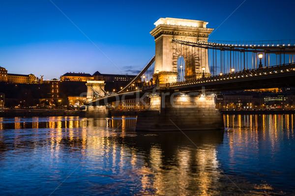 チェーン 橋 ブダペスト ハンガリー ヨーロッパ 青 ストックフォト © kyolshin