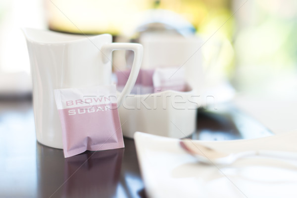 White dishware in cafe with focus on mug. Stock photo © kyolshin