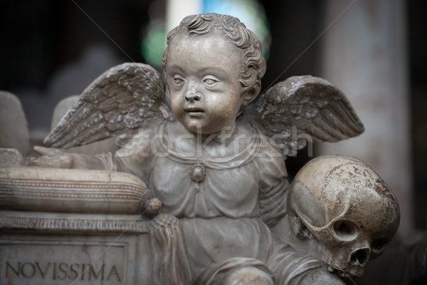 Estátua anjo menino igreja Suécia europa Foto stock © kyolshin