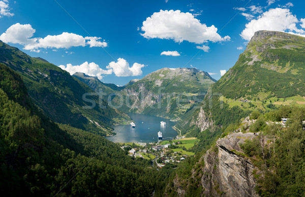 Cruise ships in waters of fiord, Norway, Europe Stock photo © kyolshin