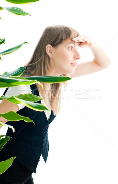 Mulher de negócios espionagem curioso jovem belo isolado Foto stock © kyolshin
