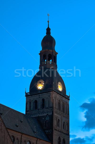 Kule gece Riga saatler mavi Stok fotoğraf © kyolshin