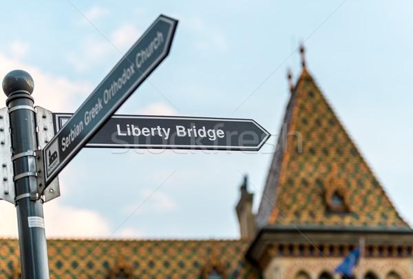 Budapeşte özgürlük köprü tabelasını Macaristan Avrupa Stok fotoğraf © kyolshin