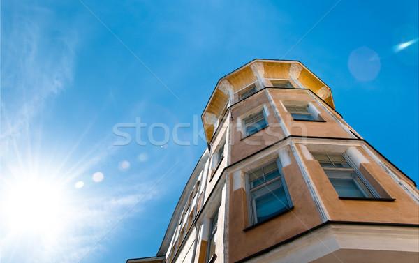 Stockfoto: Oude · huis · Helsinki · Finland · mooie · centrum · Blauw