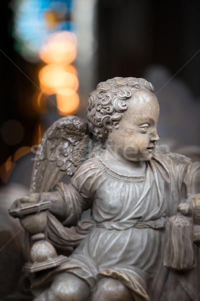 Szobor angyal fiú templom Svédország Európa Stock fotó © kyolshin