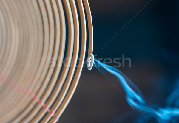 Burning spiral incense stick in temple. Stock photo © kyolshin