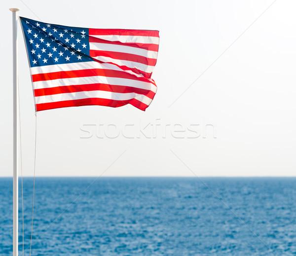 Amerika Birleşik Devletleri Amerika bayrak kutup mavi deniz Stok fotoğraf © kyolshin