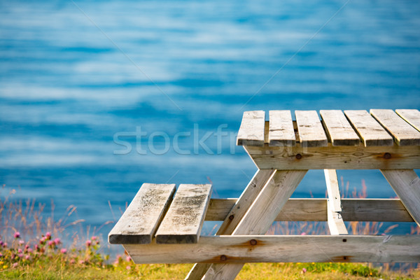 Bench and table on shore in Norway, Europe Stock photo © kyolshin