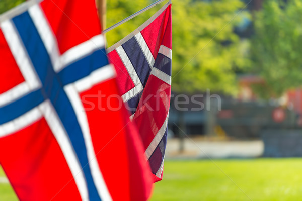Zászlók fal épület Norvégia norvég Európa Stock fotó © kyolshin