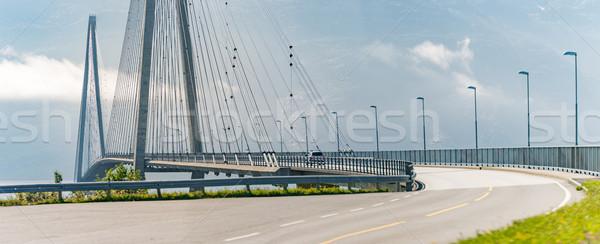 Autó híd út Norvégia Európa panoráma Stock fotó © kyolshin