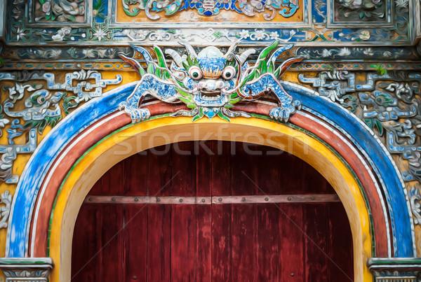 Ville porte Viêt-Nam dragon modèle sombre Photo stock © kyolshin