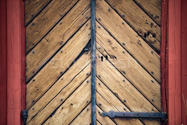 Oude houten deur Zweden Europa traditioneel Stockfoto © kyolshin