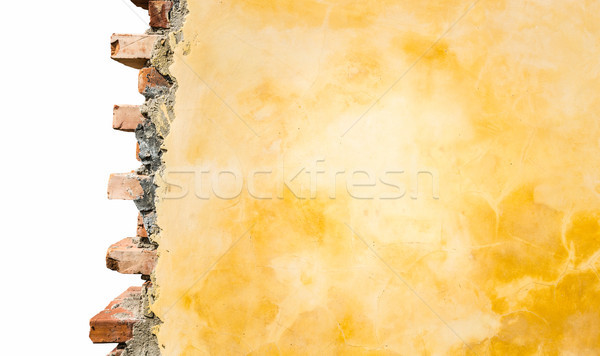 Stock photo: Part of brick house wall isolated on white.