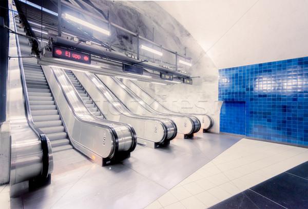 Metró állomás Európa földalatti Skandinávia fal Stock fotó © kyolshin