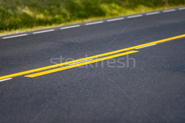 Asfalto carretera detallado vista amarillo Foto stock © kyolshin