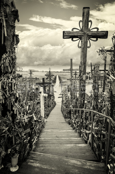 Sky and hill of crosses near Siauliai, Lithuania. Stock photo © kyolshin