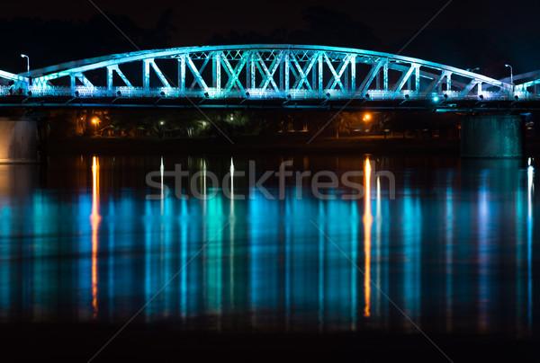Night view of Truong Tien Bridge in Hue. Stock photo © kyolshin