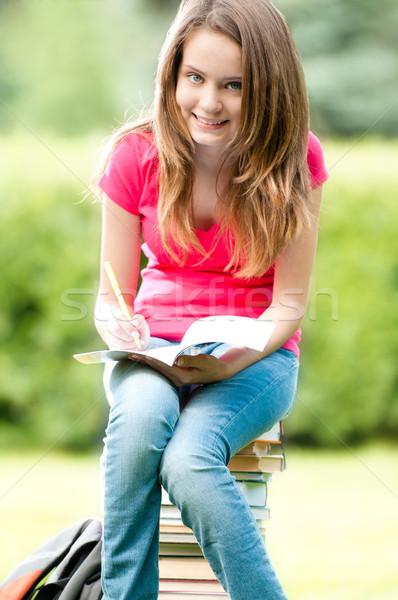 小さな 学生 少女 座って 図書 ストックフォト © kyolshin
