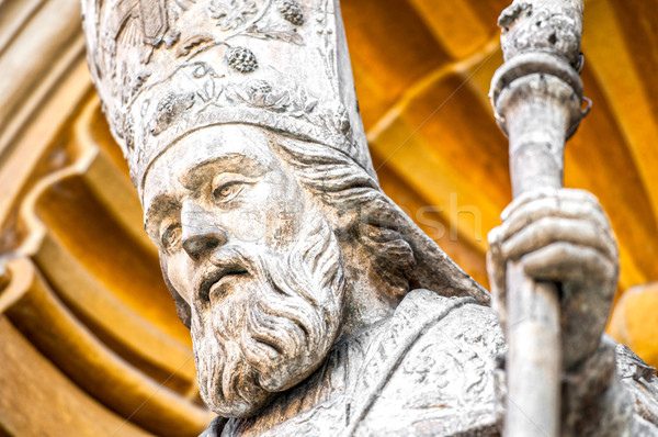 Catholic priest statue of Nice Cathedral. Stock photo © kyolshin