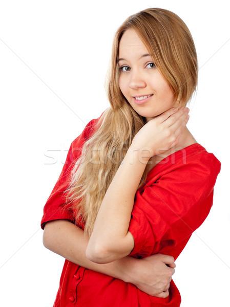 Félénk tinilány gyönyörű kéz nyak mosolyog Stock fotó © kyolshin