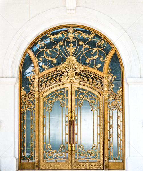 Gesloten deur gebouw goud patroon Stockfoto © kyolshin