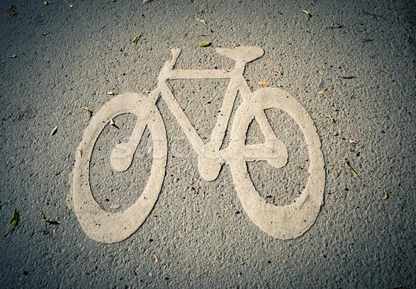Bicikli sáv szimbólum föld ikon fehér Stock fotó © kyolshin
