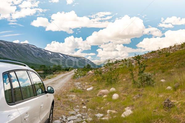автомобилей гор Норвегия Европа белый Auto Сток-фото © kyolshin