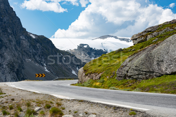 Yol dağlar Norveç Avrupa oto seyahat Stok fotoğraf © kyolshin
