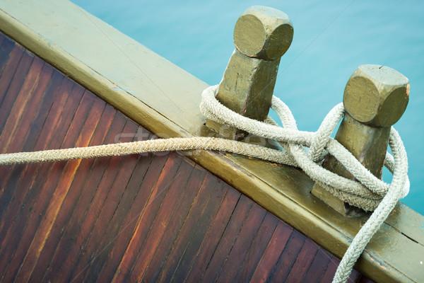 Halat deniz düğüm gemi güverte Stok fotoğraf © kyolshin