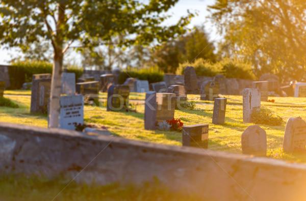 Cmentarz Norwegia piękna niebieski mętny Zdjęcia stock © kyolshin