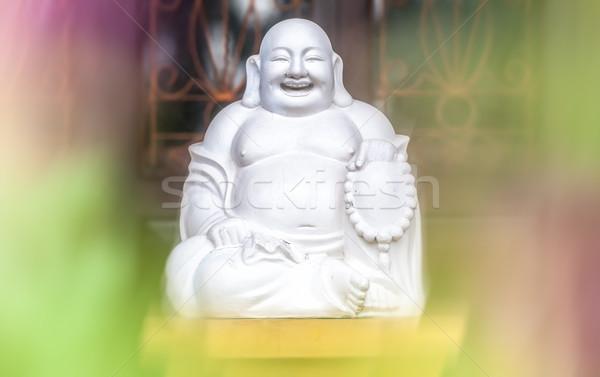 Witte standbeeld vergadering lachend vet monnik Stockfoto © kyolshin