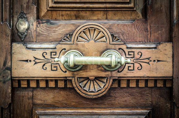 Detail of door with metal handle and keyhole. Stock photo © kyolshin